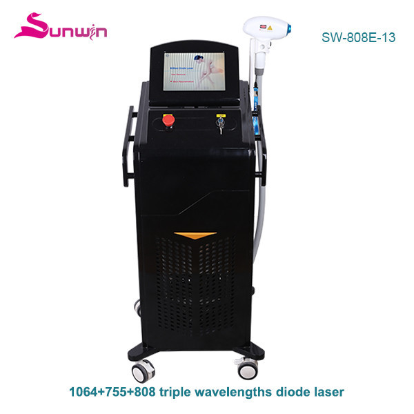 SW-808E-13 Triple wavelength 1064nm 755nm 808nm diode laser equipment black white hair removal laser hair removal beauty machine