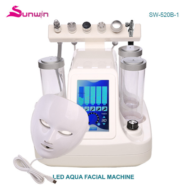SW-520B-1 Beauty Salon 7 in 1 Hydra Dermabrasion Diamond Peeling and Water Jet Beauty Aqua Peel Dermabrasion Facial Peel Machine With LED Mask