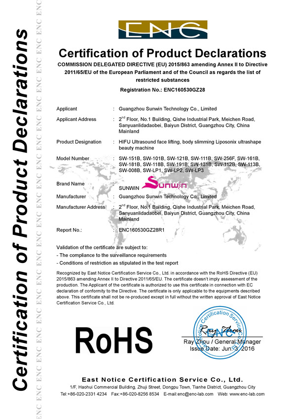 Medical RoHS Certificate
