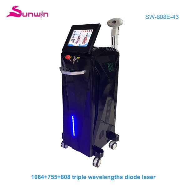 SW-808E-43 Painless and fast 3 wavelength diode laser 1064nm 755nm 808nm laser epilator hair removal machine for all skin types
